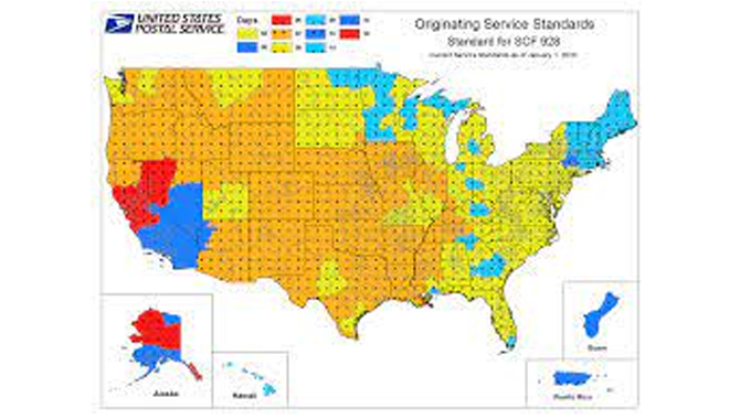 The USPS Service Standard Map