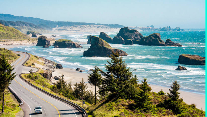 The view of the beach from the roadside is worth seeing