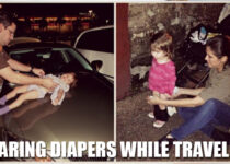 Wearing diapers while traveling